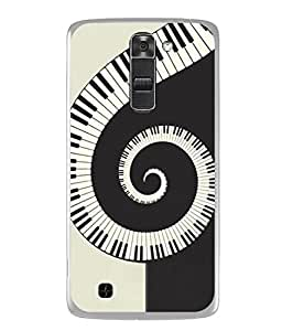 PrintVisa Designer Back Case Cover for LG Stylus 2 (K520DY) (Black White Pattern Musical Instruments Whirlwind)
