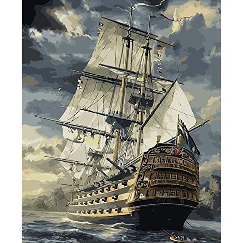 Pintura marina del barco de vela por los kits de los números...