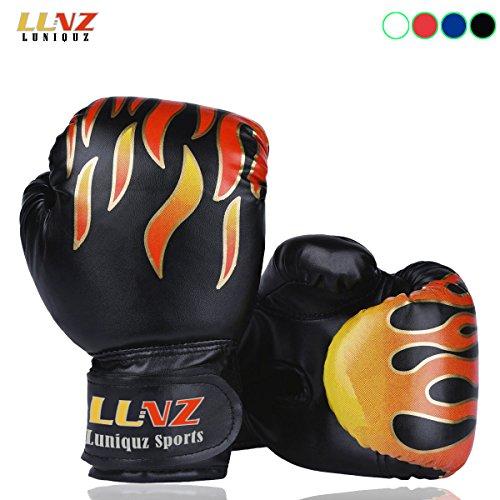 Box-handschuhe (Luniquz Kinder Boxhandschuhe mit Klettschluss Klein Box-Handschuhe für Kinder von 3 - 10 Jahre Training Gloves 6 Unzen zum MMA, Muay Thai, Kickboxen und Sandsack sport - schwarz)