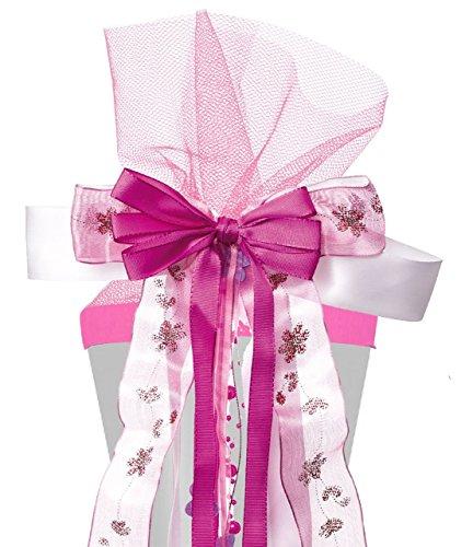 große 3-D Schleife für Schultüten -  rosa & pink  - 24 cm breit u. 55 cm lang - mit edlen Satin Bändern, Tüll & Perlenband - für Geschenke und Zuckertüten -.. ()