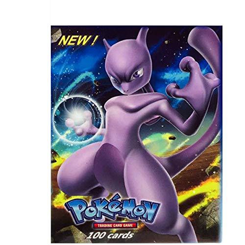 2019, 100 Karten, Pokémon-Sammelkarte amePokémon-Karte GX + EX + Mega + Energy + Trainer & 8 passende Modi zur Auswahl Pokémon-Kartenspiel,60EX+20MEGA+20GX