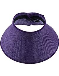 Visera de Sol Pamelas Enrollables Sombrero de Visera Ancha de Mujeres Sombrero de Copa Abierta Gorro de Sol con Visera Ancha Plegable