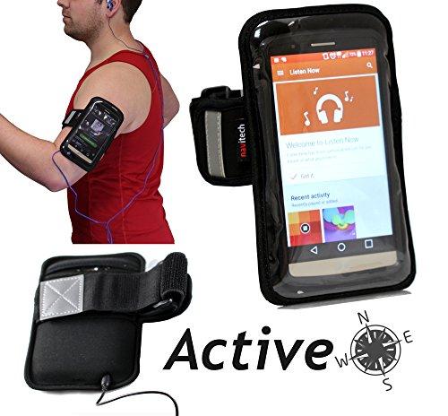 Navitech wasserdicht Schwarz Sport / Fitness / Jogging / Radfahren / Skifahren Armband Tasche Oberarmtasche Schutz Hülle Etui Case für das Huawei Ascend Mate 7 / Huawei Ascend G7