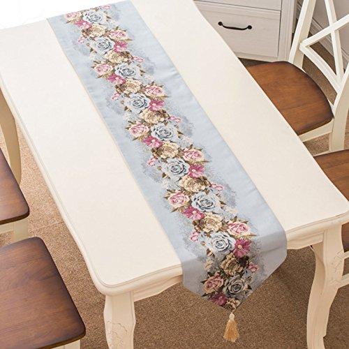 HmDco Chemin de Table Pastorale Continental Armoires TV Décoration de Table, Fleur Bleu, 32 * 190cm