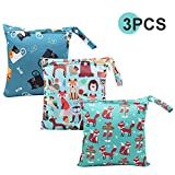 Wet Bag, HOTLIKE Dry Wet Bag, 3 PCS Nappy Bag for Cloth, Diapers Travel Bag Organiser Waterproof Reusable Produce Bags with Handle and Zipper Pocket, Perfect Gift for Trip Beach Daycare Gym