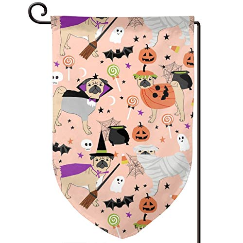 vintage cap Pug Halloween Costume Cute Dogs in costu Polyester Garden Flag House Banner 12.5 x 18 inch, Two Sided Welcome Yard Decoration Flag for Wedding Party Home Decor