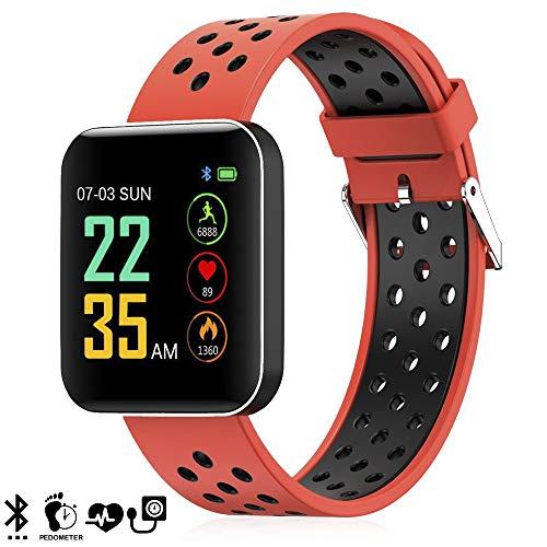 dam. dmz144org. bracciale intelligente s88 con display ad alta risoluzione, misuratore di pressione sanguigna e notifiche. arancia