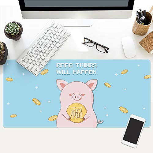Mouse Pad,Cute Pig Cartoon Anime Light Blue Letter Oversized Waterproof Padded Mouse Pad Keyboard Pad Suitable For Furniture Office Student Table Mat Gift,30X78Cm - Comfort Letter