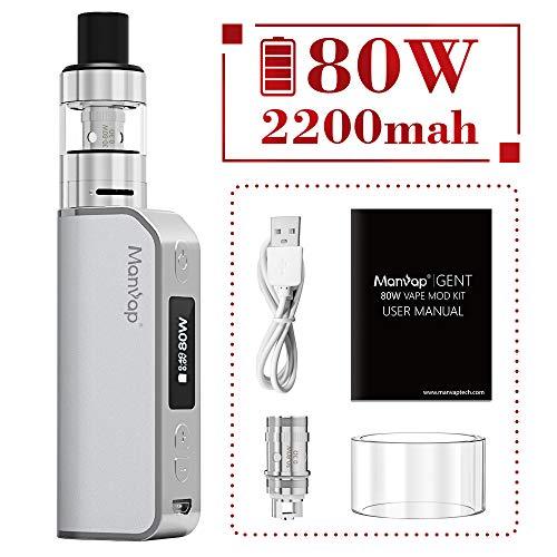 Manvap® Gent 80W Sigaretta Elettronica Box Mod Svapo Kit, Ricaricabile 2200mAh Batteria/Top Fill 2.0ml Atomizzatore,No Nicotina, No Liquido Elettronico(Argento)