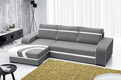 Furnistad - Ecksofa BELLA Mit Schlaffunktion Und Bettkasten (Hellgrau - Weiß, Option links)