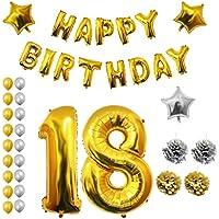 BELLE VOUS 18 Cumpleaños Globos - Decoraciones de Cumpleaños - Feliz Cumpleaños Bandera - Cumpleaños Fiesta Conjunto - Pompones - Decoración Globo de Látex Dorado y Plateado (Age 18)