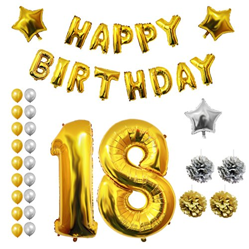 Palloncini-Accessori-Decorazioni-Festa-di-Compleanno-Belle-Vous–Set-Tutto-in-Uno-Grande-Palloncino-in-Foil–Decorazioni-Palloncini-in-Lattice-Oro-Argento-Decorazione-Adatta-per-Adulti-Uomini-e-Donne