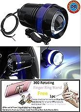 PR U3 Fog Lamp Blue Angel Eye Ring Light (Black, 2Pc) High Beam,Low Beam,Flashing Modes LED Motorcycle For - All Bikes