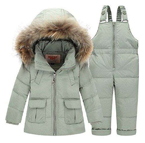 Winter Kind -Baby-jungen Oberbekleidung Pelz Snowsuits Jacke + Overalls Hosen Normallack-Fluff-Ski-Klagen (18M-2T(80cm), Grün) (Ski-jacke Mädchen 18)