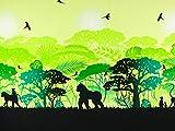 Baumwolljersey Wild Shadows Affen grün-schwarz by Lycklig