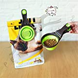 Pets Empire Measuring Cup And Spoon, Pet Dog Cat Food Scoop Foods Storage Bag Silicone Measuring Cups Measuring Spoons Perfect For Pet Food Dogs&Cats