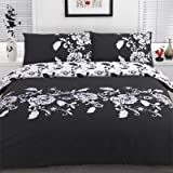 Dreamscene Kensington Duvet Cover Set, Black, Super King