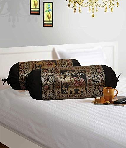 Stylo Culture Polidupion Indian Cilíndrica Fundas De Almohadas 70x40 Ronda Decorativa Fundas para Cojines Bolster Covers Negro Brocado Jacquard Elefante Largo For Settee (Set of 2)
