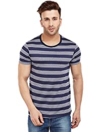 VIMAL Black Striped Round Neck Tshirt for Men