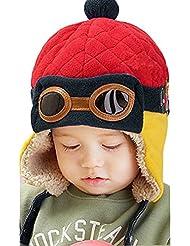 Tongshi Nuevos muchachos calientes del invierno del casquillo del sombrero de la gorrita tejida piloto aviador ganchillo Earflap Sombreros(Rojo)