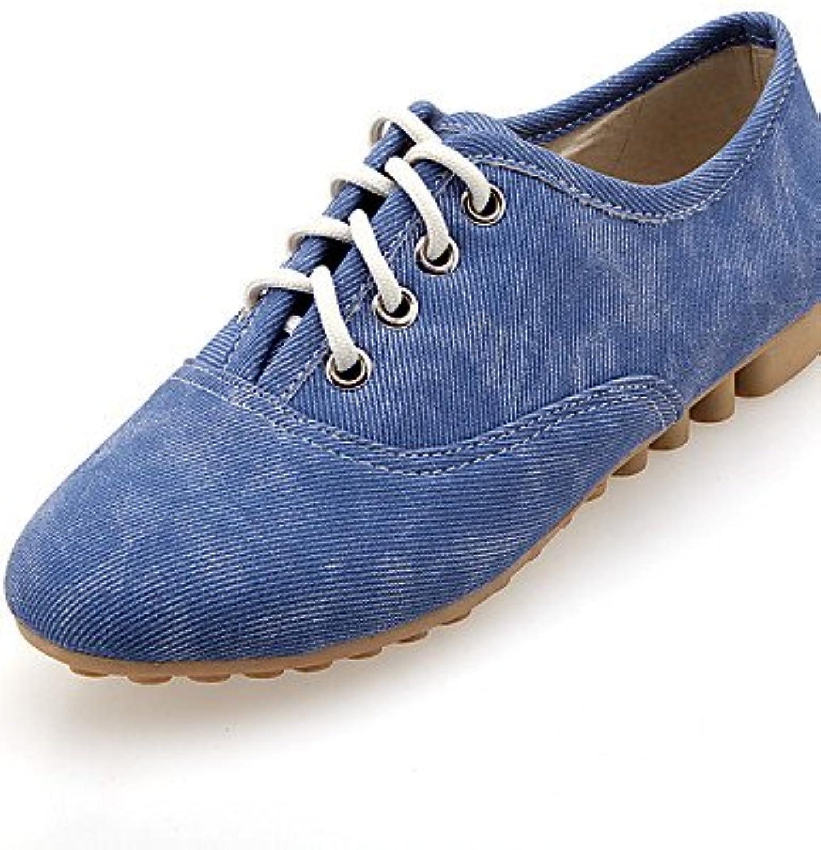 NJX/ hug Zapatos de mujer - Tacón Plano - Punta Redonda - Oxfords - Casual - Semicuero - Negro / Azul / Beige...