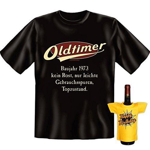 OLDTIMER,1973, leichte Gebrauchsspuren,Top-Zustand Baujahr Set Goodman Design® Funshirt Gr: Farbe: schwarz Schwarz