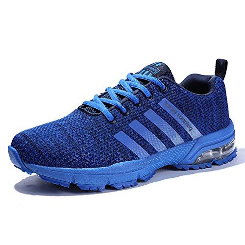 SOLLOMENSI Laufschuhe Retwin Turnschuhe Straßenlaufschuhe Sneaker mit Snake Optik Damen Herren Sportschuhe Schuhe EU 39 B Blau