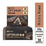 Optimum Nutrition Protein Bar, Barre Proteine Avec Whey Protéine, Sans Sucre Ajouté, Riche en Proteine, Faible en Glucide, Rocky Road, Boîte de 10 (10 x 60 g)