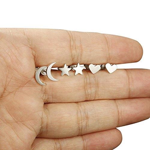 4a63ca5d98a6 BESTEEL 3-6 Pares Acero Inoxidable Pendientes de Estrella Luna y Corazón de  las Mujeres Aretes ...