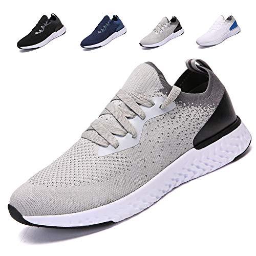 adituob Herren Atmungsaktive Casual Sneakers Mode leichte Turnschuhe Sportliche Tennis-Laufschuhe Grau EU46 -