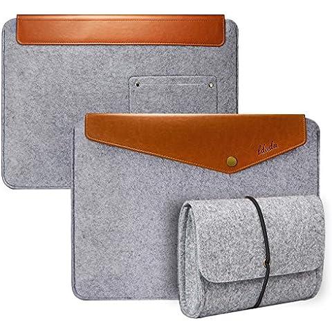 LDUDU® Universale Custodia per 15,4 pollici laptop Notebook speciale per Macbook Pro 15,4 pollici / Retina 15,4 pollici Borsa in Feltro e Artificiale Pelle Busta protettiva Con Bottone--Marrone+Grigio