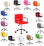 Executive PU Faux Leather Swivel Office Computer Desk Wheels Chair Studio Salon Barber Seat Stool (Orange)