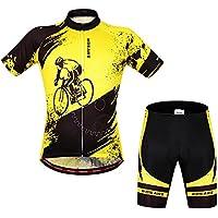 Traspiranti da ciclismo, in Jersey, a maniche corte con pantaloncini imbottiti, giallo, XXL