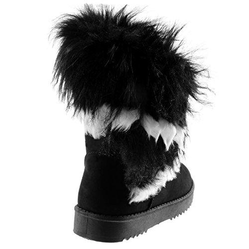 Angkorly Scarpe Moda Stivaletti Scarponcini Stivali da Neve Donna Pelliccia Tacco Tacco Piatto 3 cm Foderato di Pelliccia Nero