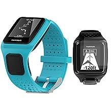 TomTom Runner / MultiSport / Golfer Bracelet + Protection , TUSITA® Remplacer Soft Silicone Band Bracelet Bracelet Sport WristBand Accessoire avec Protecteur d'Ecran pour TomTom (Bleu)