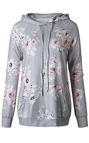 Minetom Femme Automne Hiver Rayure Sweats à capuche Hoodie Sport Sweat-shirts Manteau Veste Casual Jumper Tops Pullover I Gris2