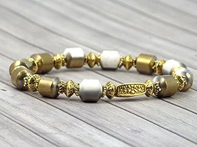 Bracelet pour femme Venezia plaqué or avec perles en céramique blanches et or par galvanoplastie
