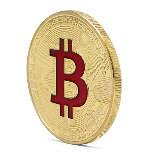 TWIFER 1 PCS Bitcoin Gold Plated Titan Commemorative Coin Collectible IN CASE (A-Rot, 38mm)