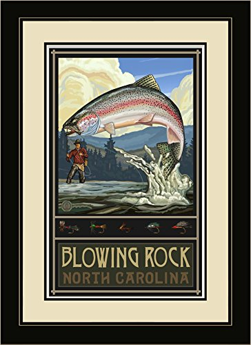 Northwest Art Mall rtfh Blowing Rock North Carolina Rainbow Trout Fisherman Hills gerahmtes Wandbild Art von Künstler Paul A. lanquist, 40,6x 55,9cm