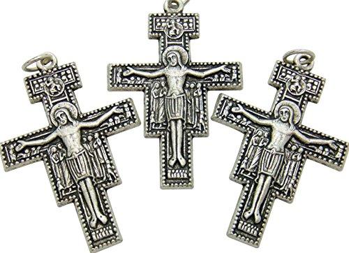3 Stück San Damiano Kruzifixe 6,5 cm hoch Franziskanerkreuz, Metall San Damiano Cross Papst Franziskuskreuz. Franciskanisches Kruzifix