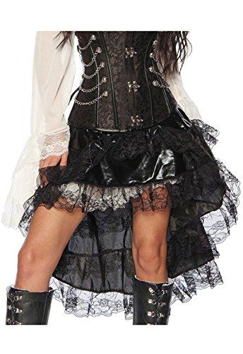 Rock Kostüm Kurzer Rüschen Mit - Volant-Rock mit Spitze - schwarz - M