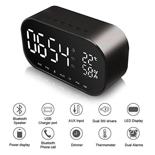 Despertador con Altavoz Bluetooth, JIM'S STORE Reloj de Escritorio con FM Radio y Micrófono, Soporte Llamada Manos Libres, Llamada de Voz,Tarjeta TF, Cable AUX, Sonido, LED Pantalla (Negro)