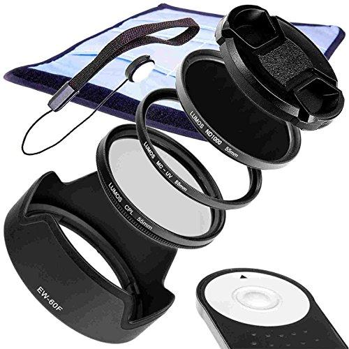 LUMOS Zubehör Set für Ihr Canon Kit EOS M5 M6 etc. & EF-M 18-150 IS STM | Gegenlichtblende EW-60F Fernauslöser RC-6 ND UV Filter Polfilter Objektivdeckel 55mm