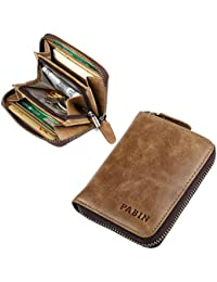 Rfid Blocking Leather Business Card Holder Wallets For Men Credit Card Protector Vintage (Khaki) By Pabin