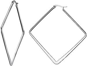Vnox Acciaio Inossidabile Grande Quadrato Scava Fuori Gli Orecchini del Cerchio della Geometria di Minimalist per Le Donne Girls,Argento