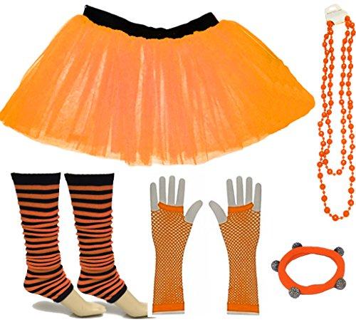 A-Express Orange Mädchen Kinder 4-7 Jahr Neon Tütü -