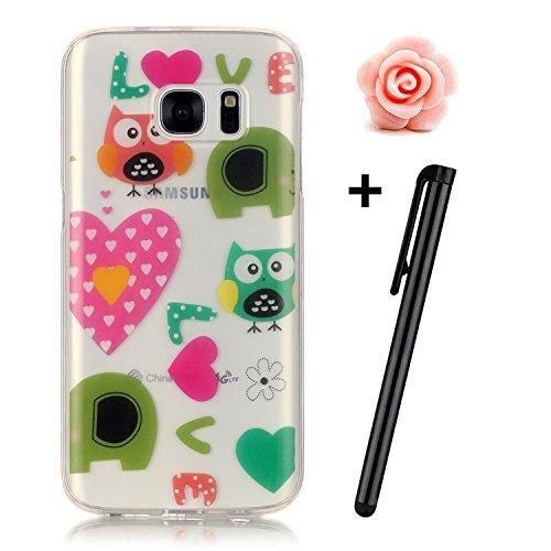 Preisvergleich Produktbild Samsung Galaxy S7 Edge Hülle,Samsung Galaxy S7 Edge Case,TOYYM TPU Hülle Schutzhülle Crystal Case Silikon Transparent Hülle Eulen Muster Anti-Kratz Zurück Case Cover für Samsung Galaxy S7 Edge