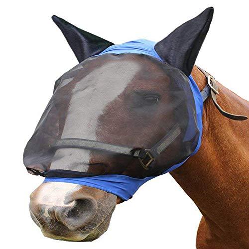 Pferd Schutz Anti-moskito Komfort Blau Netzgewebe Rüstung das Gesicht Bedeckend Pferd Fliegenmaske - Blau