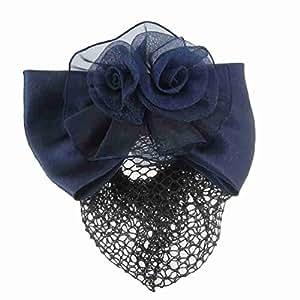 Clips Femmes Polyester Bleu 3D Fleur Barrette Snood cheveux Net