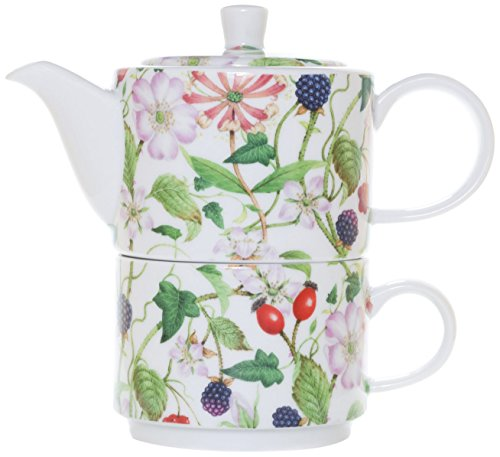 La Cija Madreselva Tea for One - Set de porcelana con taza y tetera de uso individual, color blanco